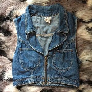 Vintage 90s Jean Jacket ZIP Up Crop Top Vest